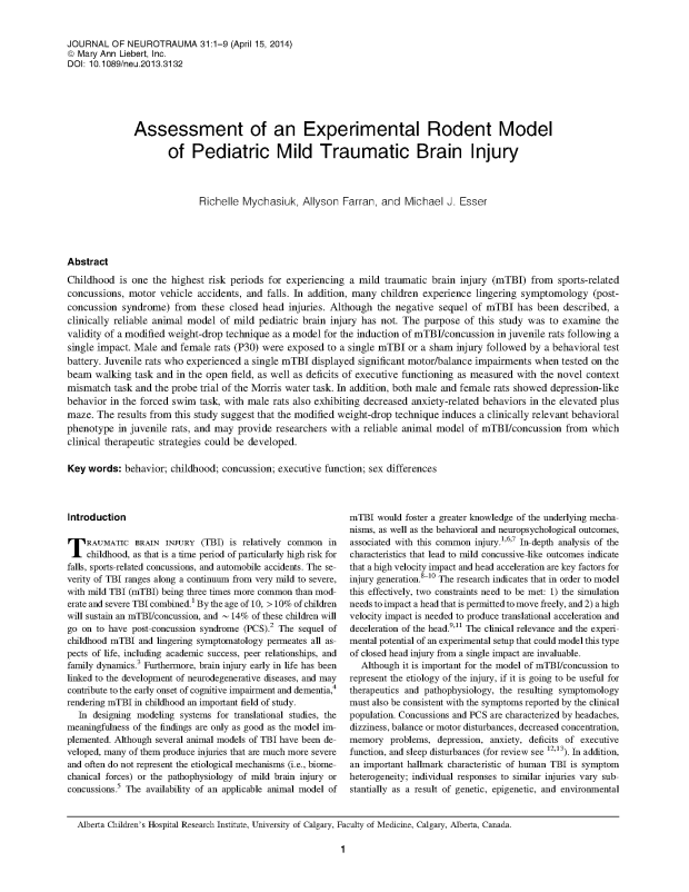 Assessment of an experimental rodent model