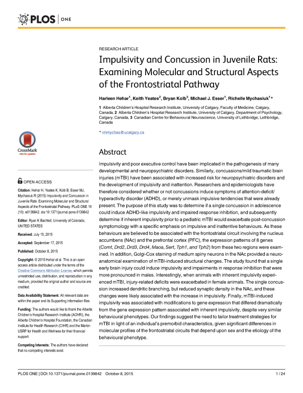 PLoS ONE - Impulsivity + mTBI