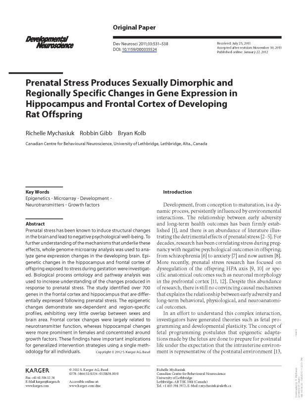 Prenatal Stress Genetics
