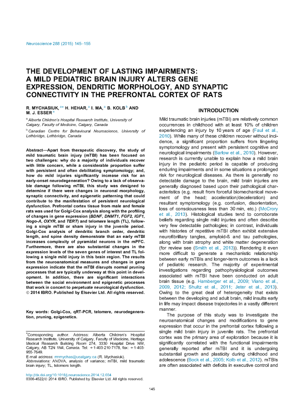 The Development of Lasting Impairments