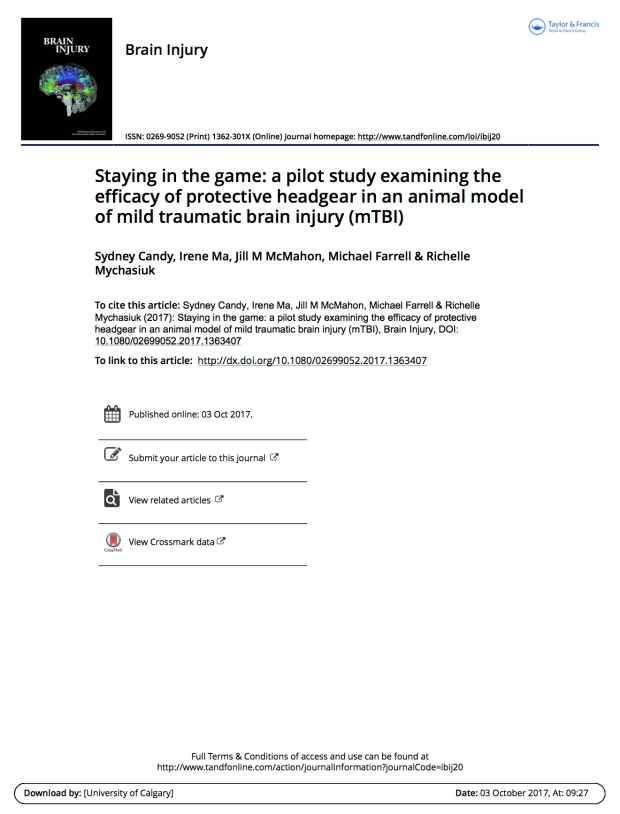 Staying in the game a pilot study examining the efficacy of protective headgear in an animal model of mild traumatic brain injury mTBI1